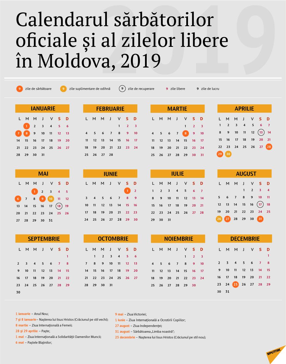 Calendarul Zilelor De Odihnă În Moldova Pentru Anul 2019 with Calendar 2020 Zile Lucratoare