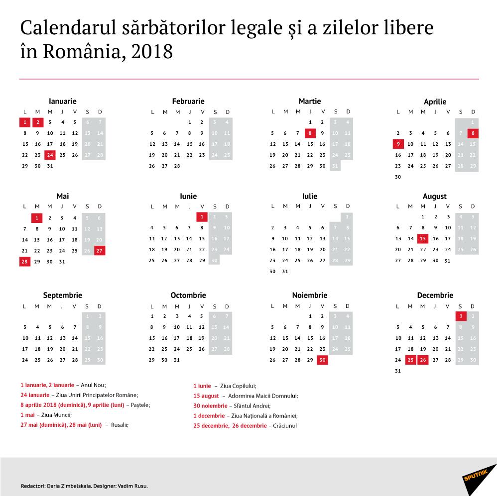 Calendarul Zilelor Libere În 2018, Decretate Prin Lege În within Calendar 2020 Zile Lucratoare