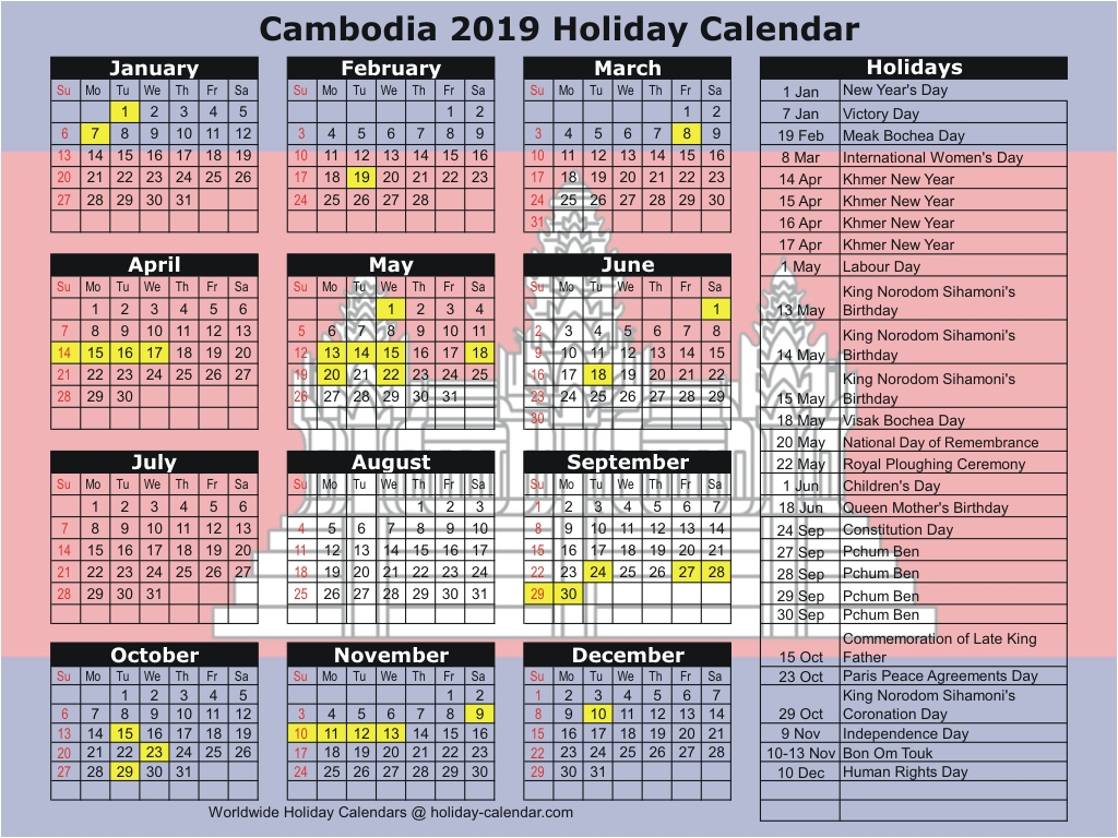 Cambodia 2019  2020 Holiday Calendar intended for Khmer Calendar 2020 October
