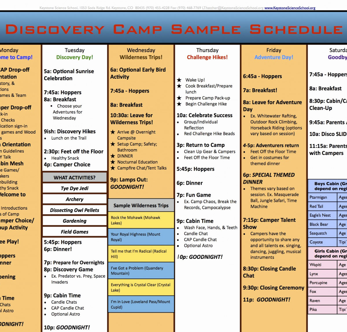 Camp Itinerary Templates for Summer Camp Schedule Template