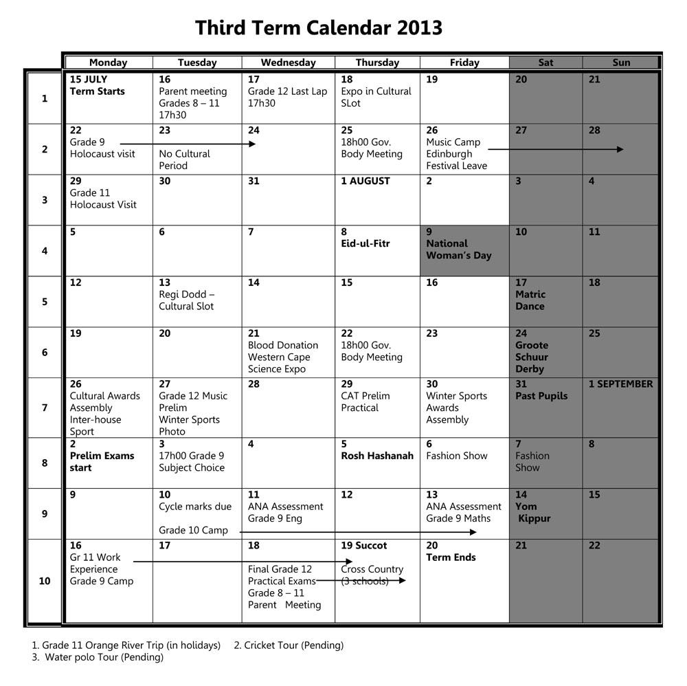 Camps Bay High School: Cbhs Events Calendar  3Rd Term 2013 in Third Term School Calendar
