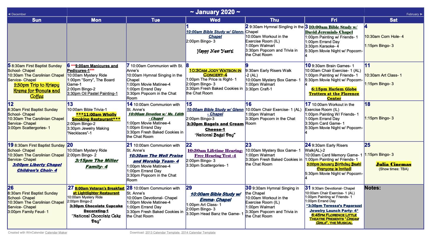 Carolinian January 2020 Calendar  The Carolinian Retirement pertaining to Wincalendar January 2020