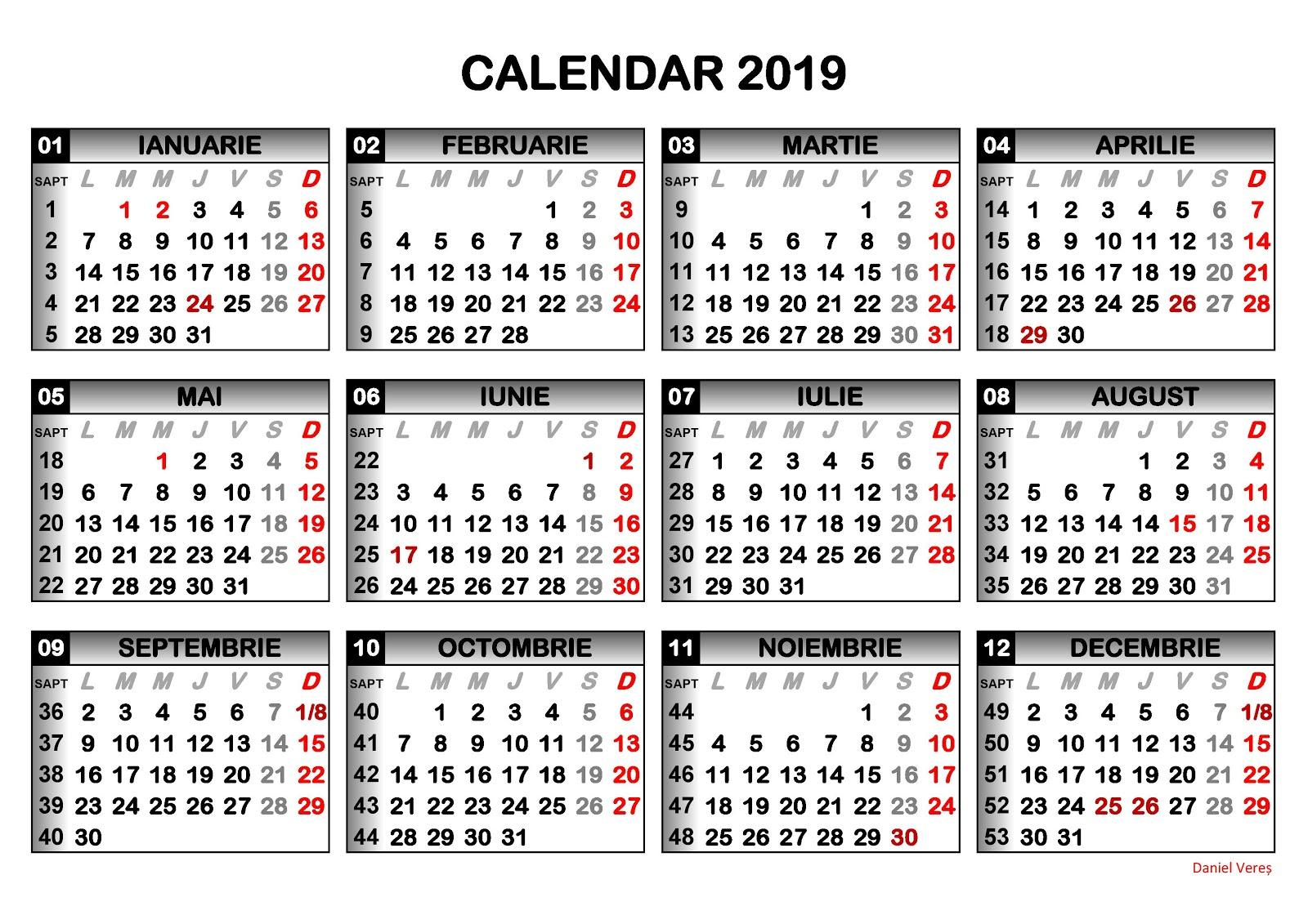 Câte Zile Libere Ne Așteaptă În 2019 with regard to Calendar 2020 Zile Lucratoare