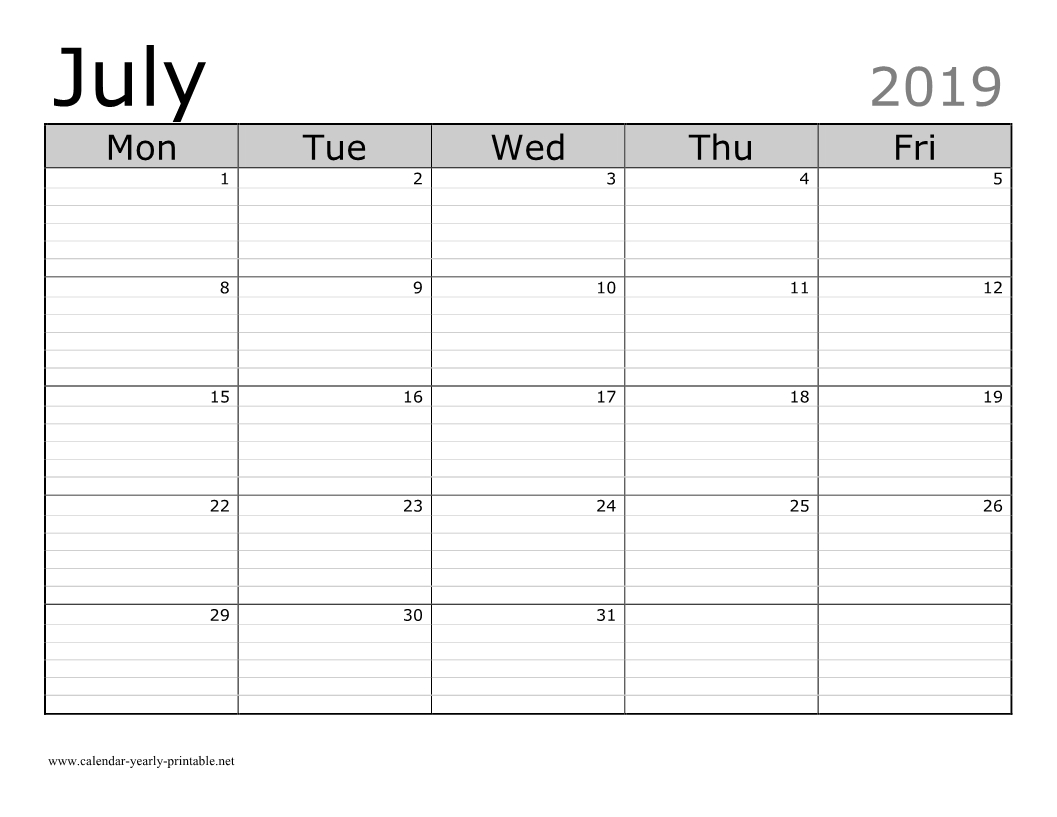 Celebrating Holidays In July 2019 Calendar  Calendar Yearly pertaining to Printable Lined Monthly Calendar