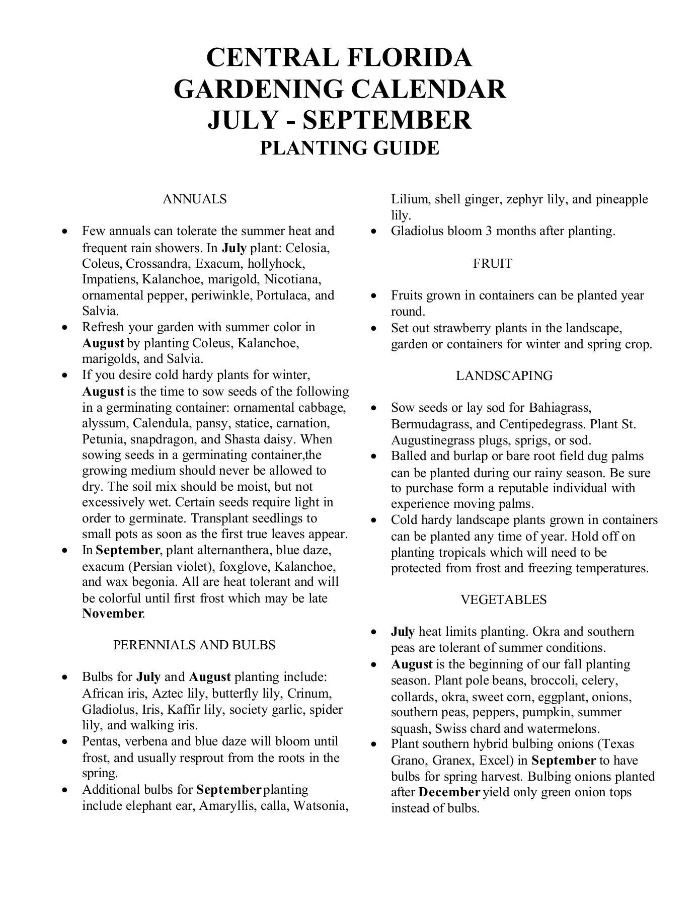 Central Florida Gardening Calendar July  September throughout Vegetable Planting Calendar Excel