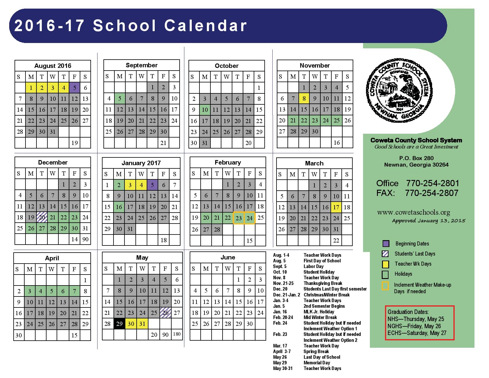 Ces throughout Coweta County School Calendar