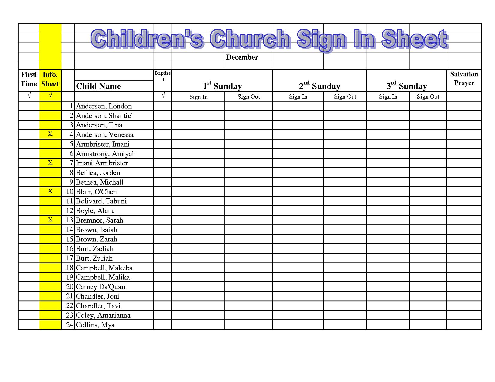 Children's Church Sign In Sheet Template  Google Search regarding Printable Children's Church Sign In Sheet Template
