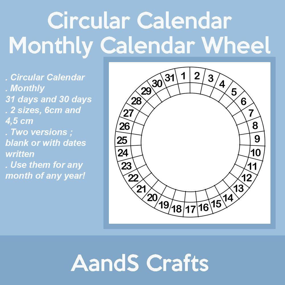Circular Calendar Calendar Wheel Blank Size 6Cm And 45 in Calendar Wheel Printable