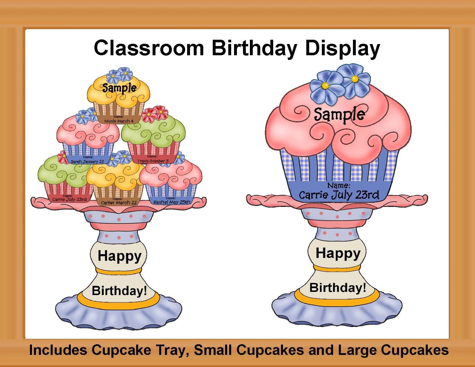 Classroom Birthday Bulletin Boards | Birthday Cupcake in Birthday Display Cupcakes