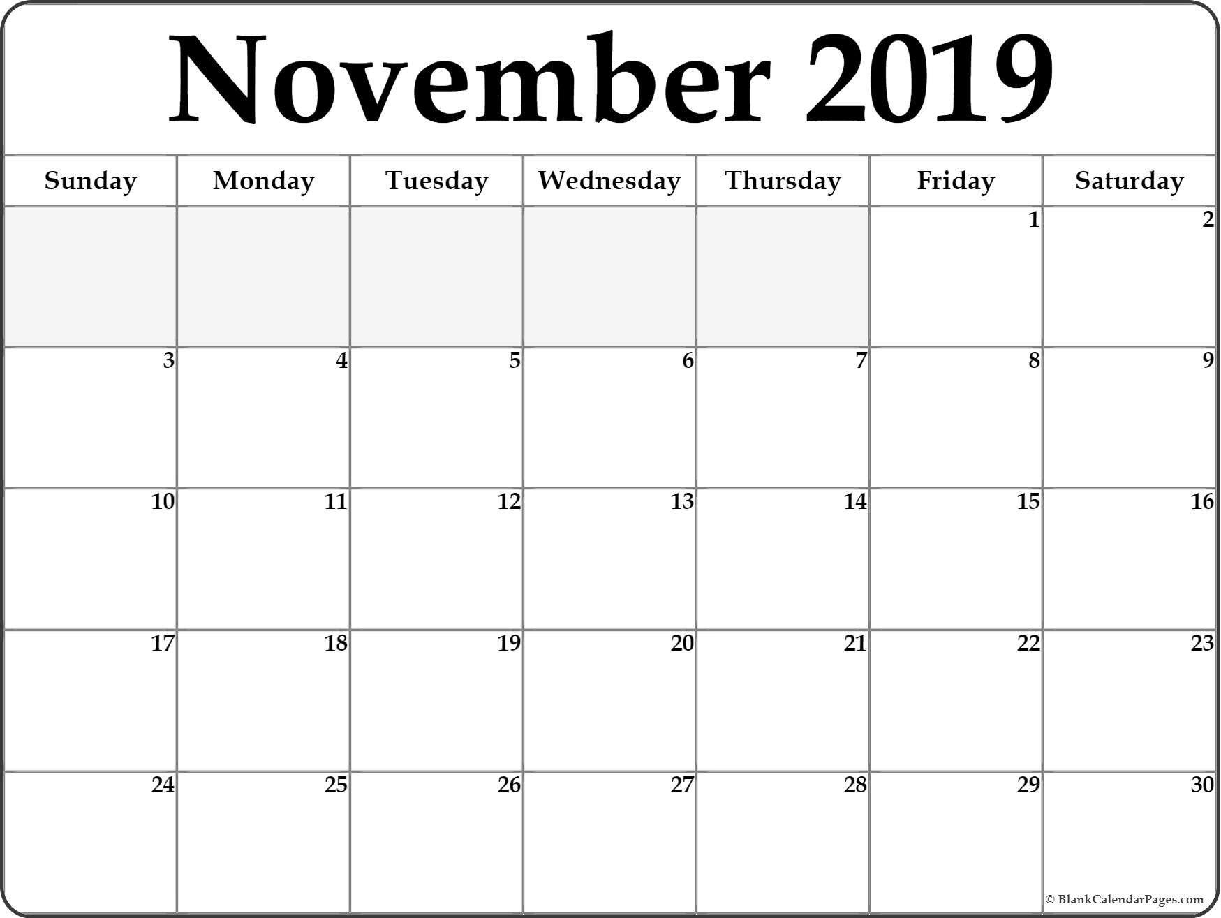 Clipart – Free – Calendar – November 2019 – Template pertaining to November Calendar Clipart Free