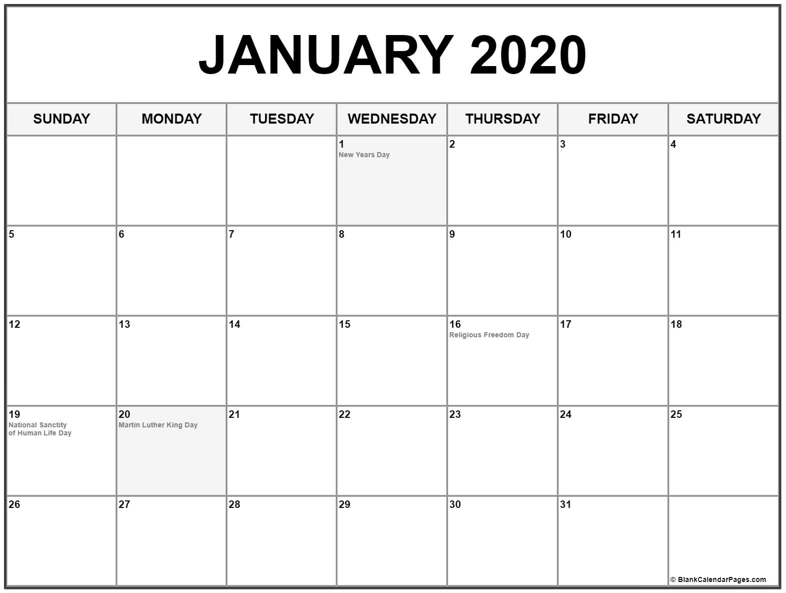 Collection Of January 2020 Calendars With Holidays with regard to Jan 2020 Holiday