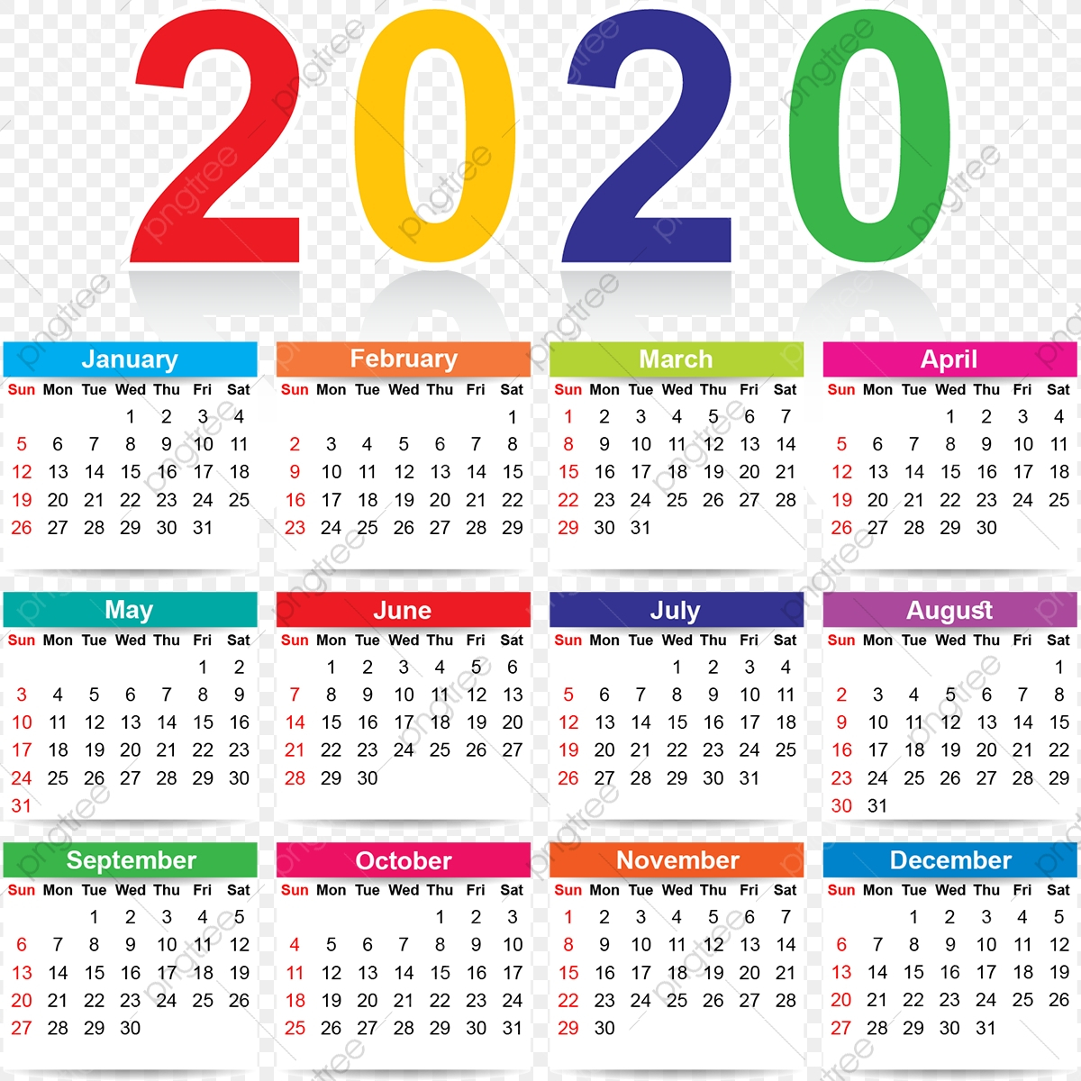 Colorful 2020 Calendar, Colorful, Colorful Calendar with 2020 Calendar Vector Free