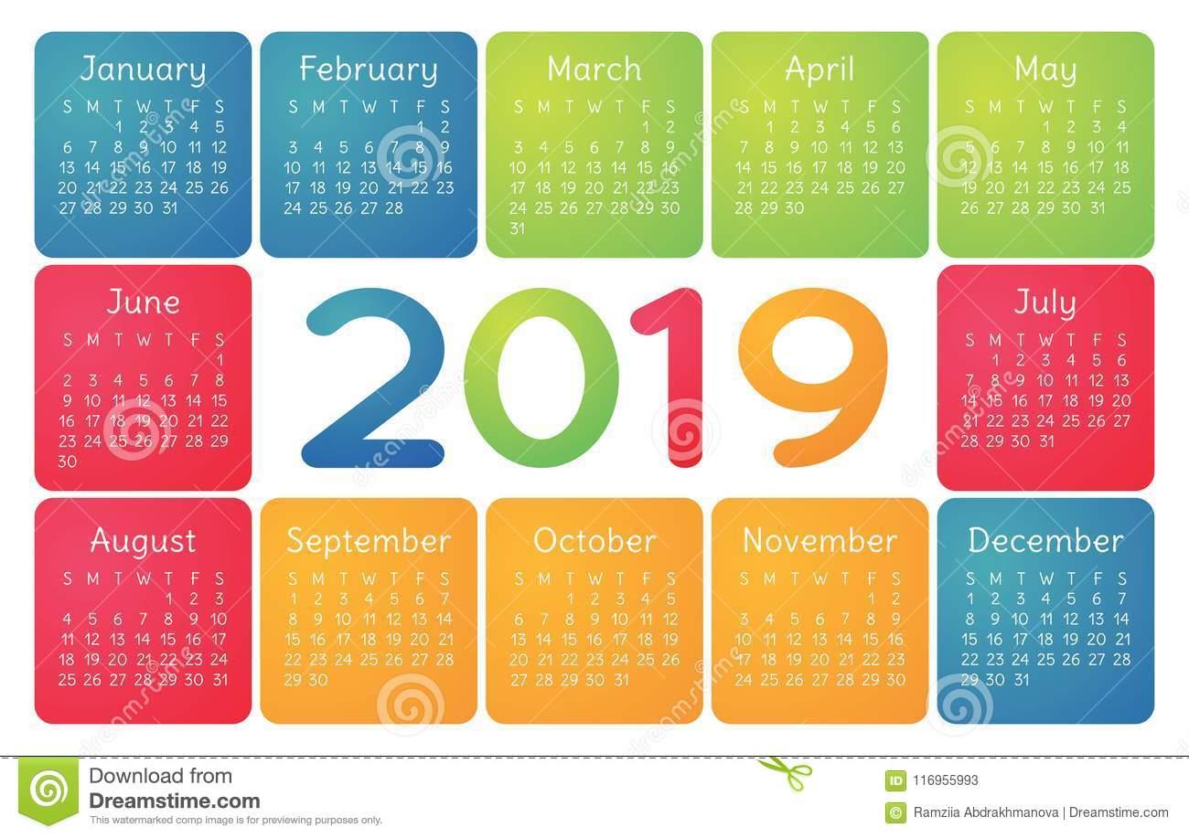 Colorful Calendar 2019 Vector Basic Grid. Simple Design throughout Free Printable Pocket Calendar