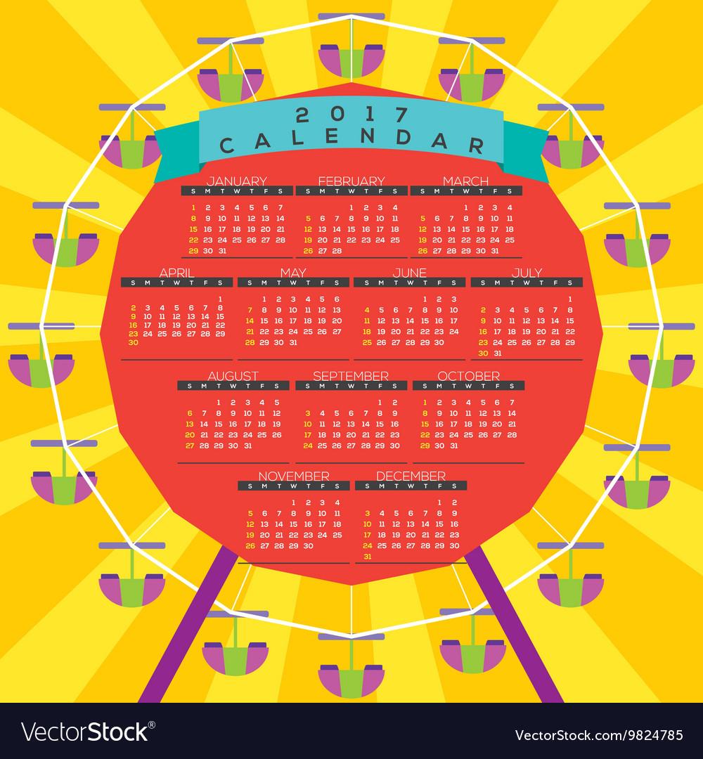 Colorful Ferris Wheel 2017 Printable Calendar with regard to Calendar Wheel Printable