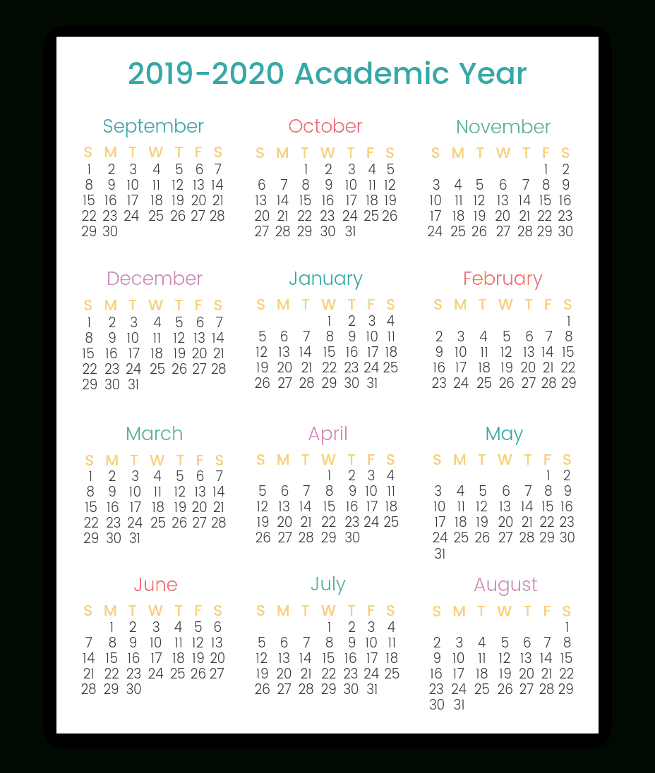 Colorful Printable Calendars For 20192020 | Smart Living Mama within 2020 Year At A Glance Printable