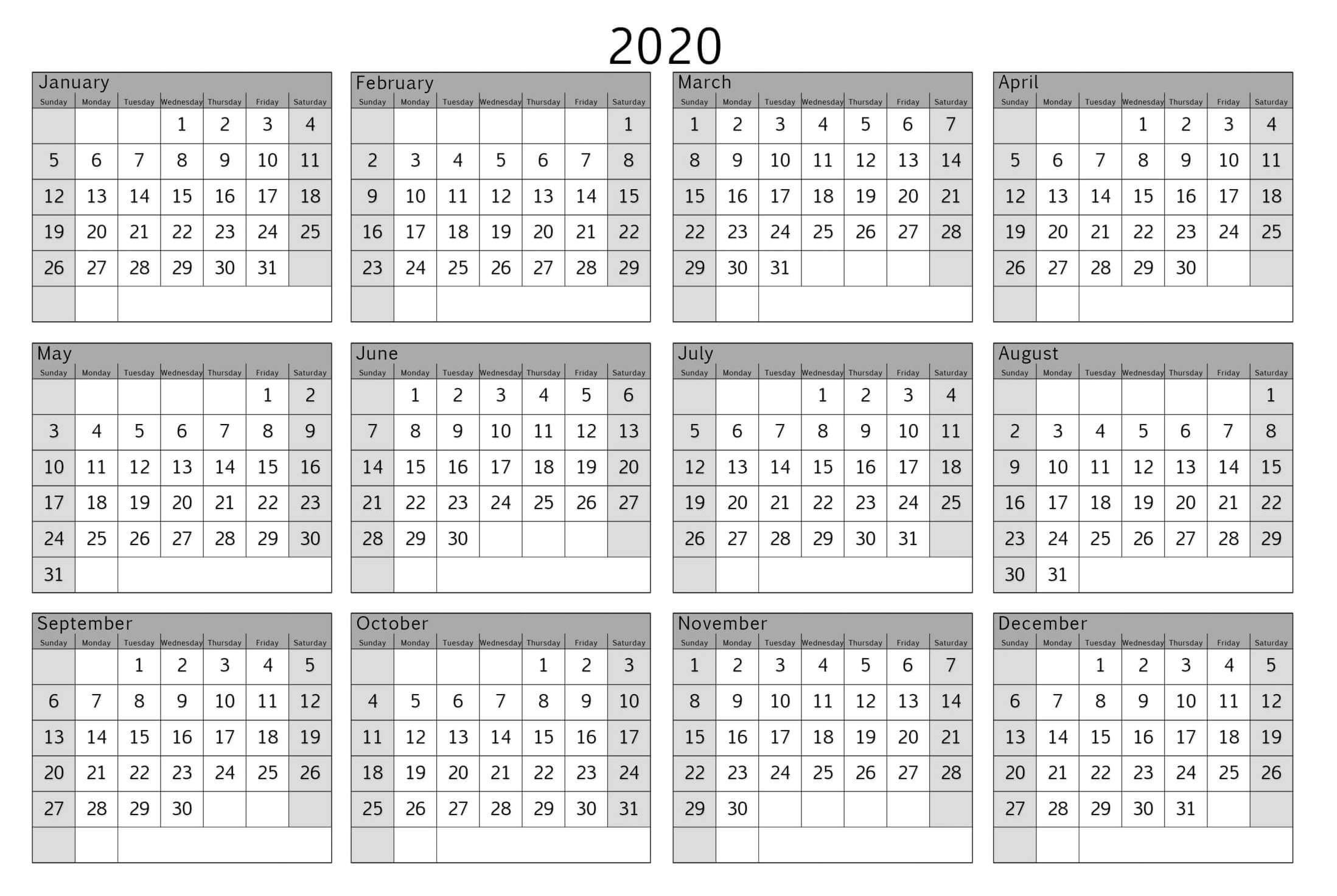 Colorful Yearly Calendar Template With Notes 2020 Word  Set inside 2020 At A Glance Calendar Printable