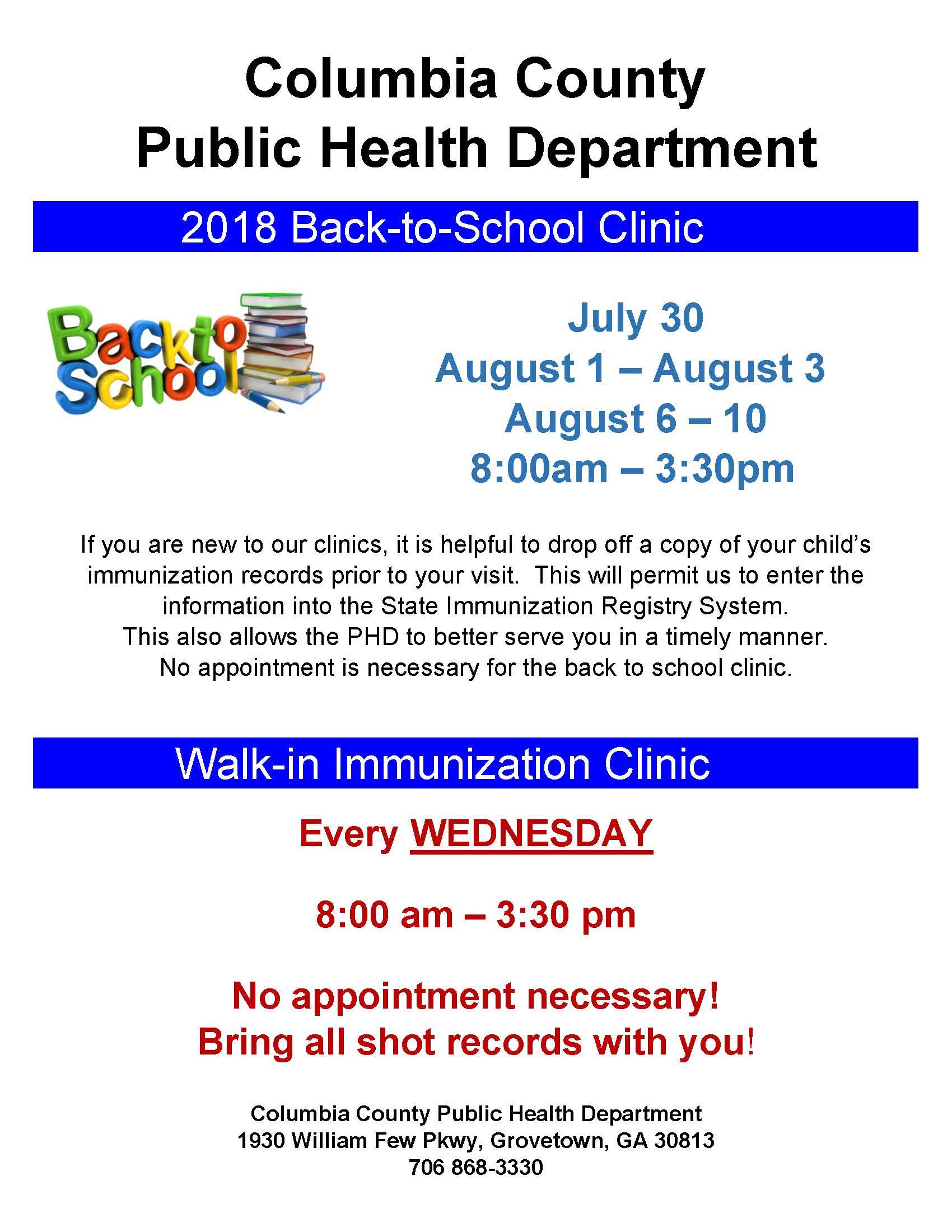 Columbia County Health Department Back To School Clinic inside Columbia County Ga Calendar
