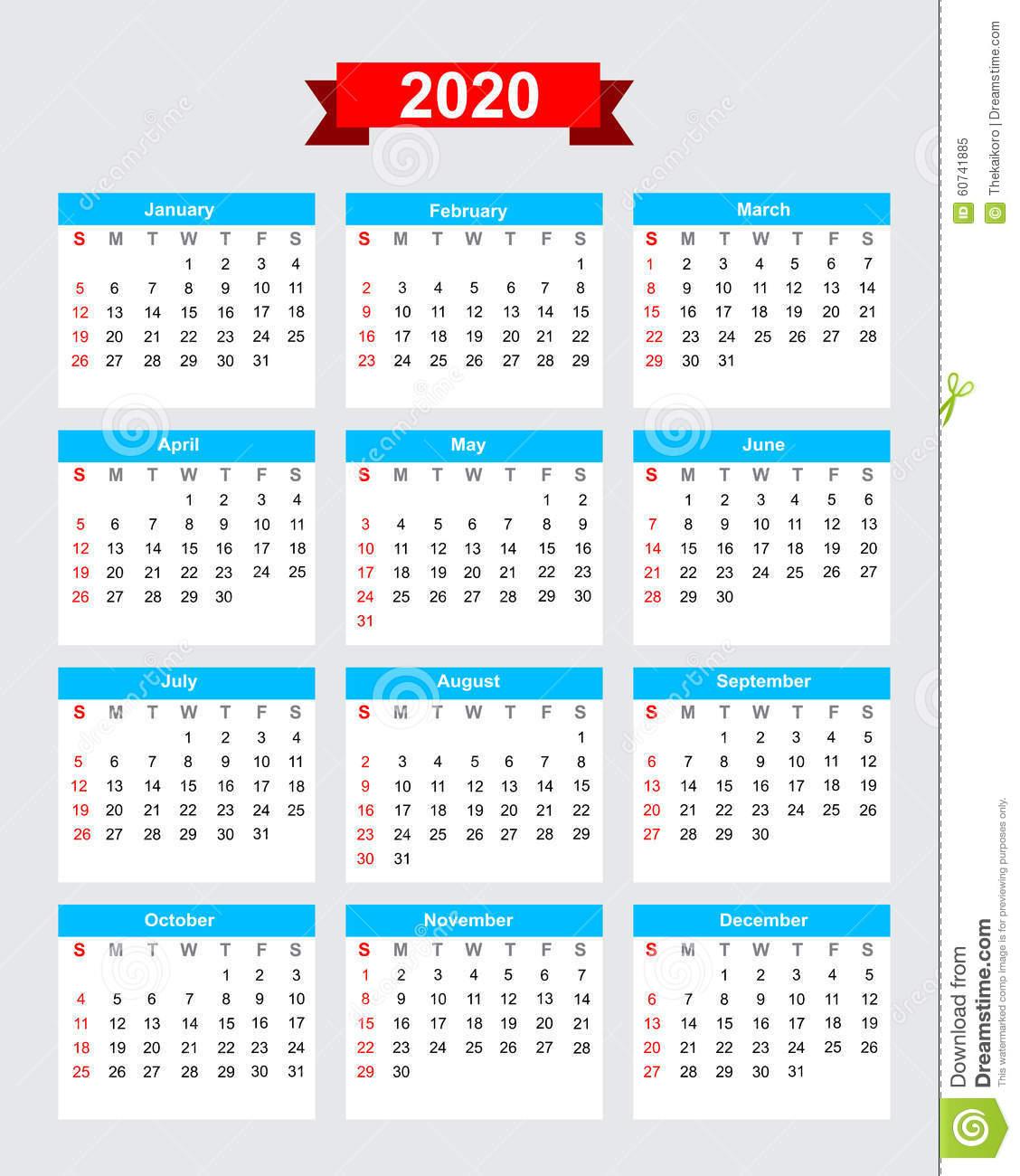 Comienzo Domingo De La Semana De Calendario 2020 Ilustración within Calendario 2020 Con Semanas