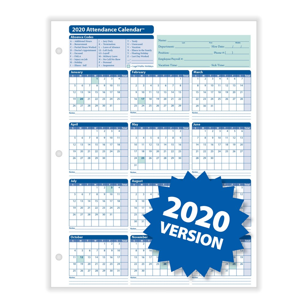 """Complyright 2020 Attendance Calendar, White, 812"""" X 11""""  50 Per Pack throughout 2020 Employee Attendance Calendar Free"""