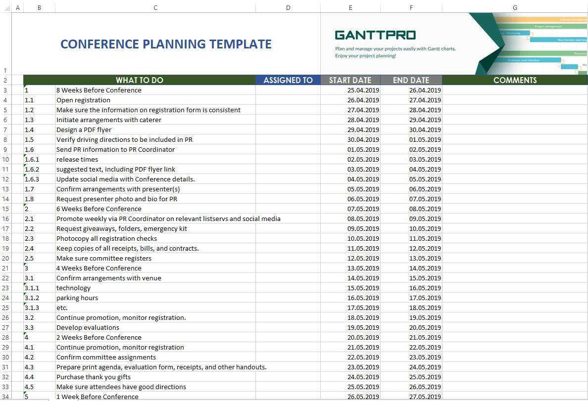 Conference Planning Template | Excel Template | Free Download for Conference Planning Template Excel