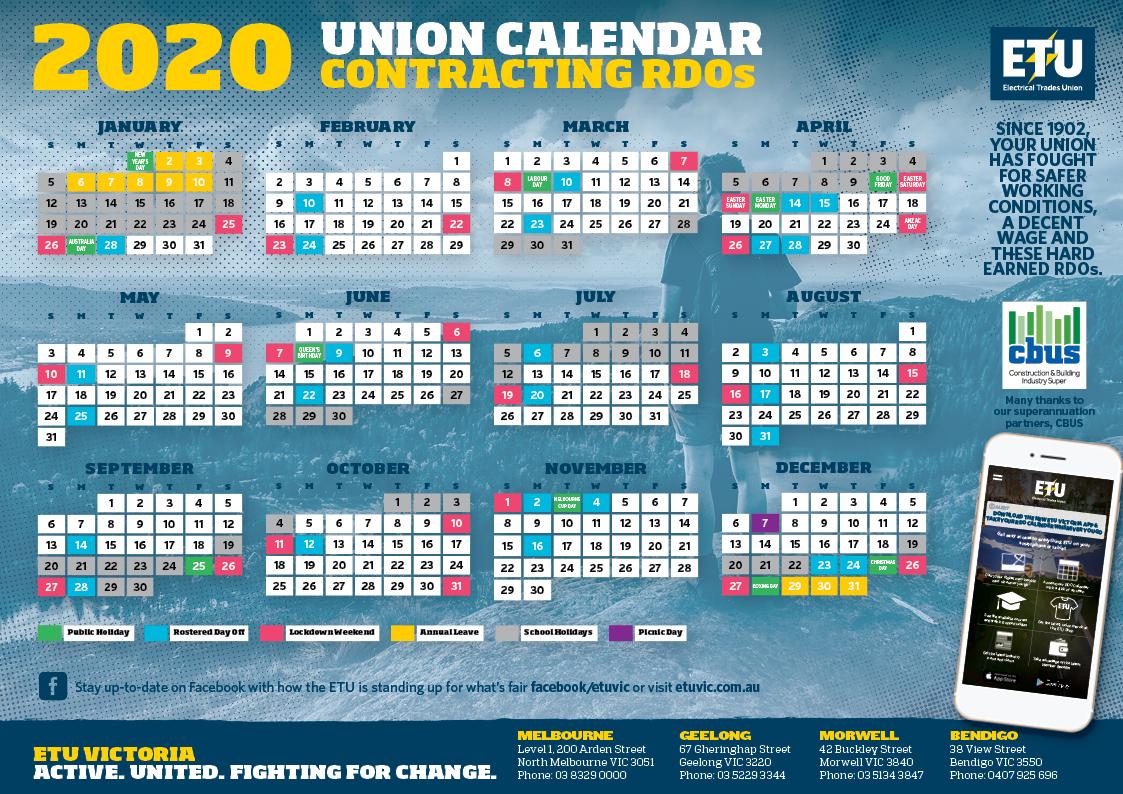 Contracting Rdo Calendar within Calendar 2020 Qld