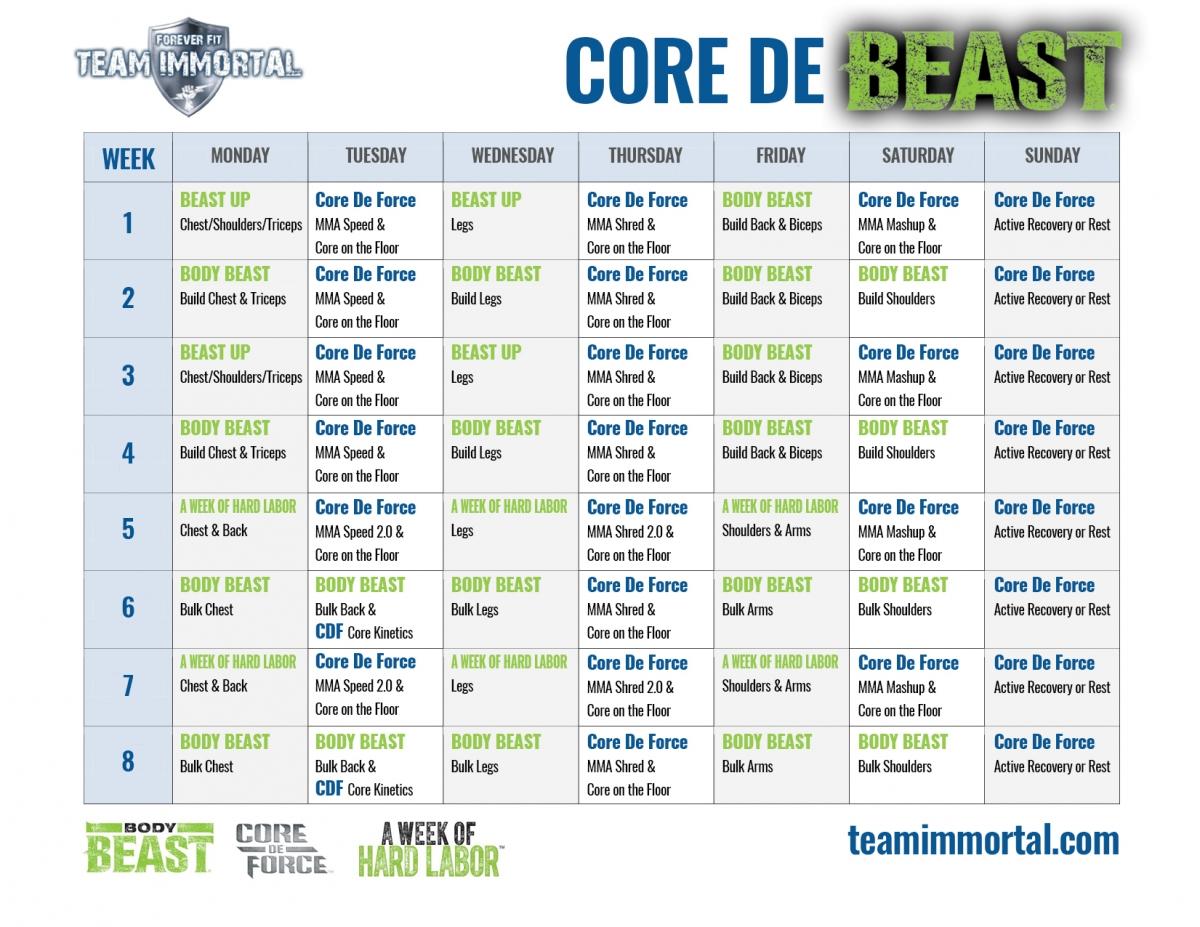 Core De Beast Hybrid | Team Immortal | Forever Fit | Fitness throughout Body Beast Hybrid Calendar