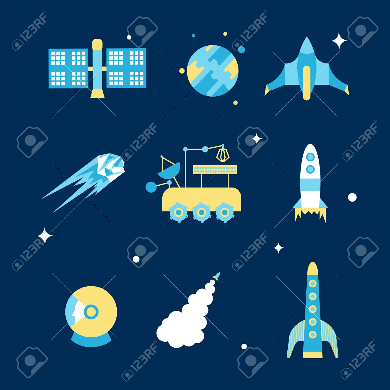 Cosmos Icon Set. Stock Vector Illustration Of Space Related Objects.. with Space Related Pictures