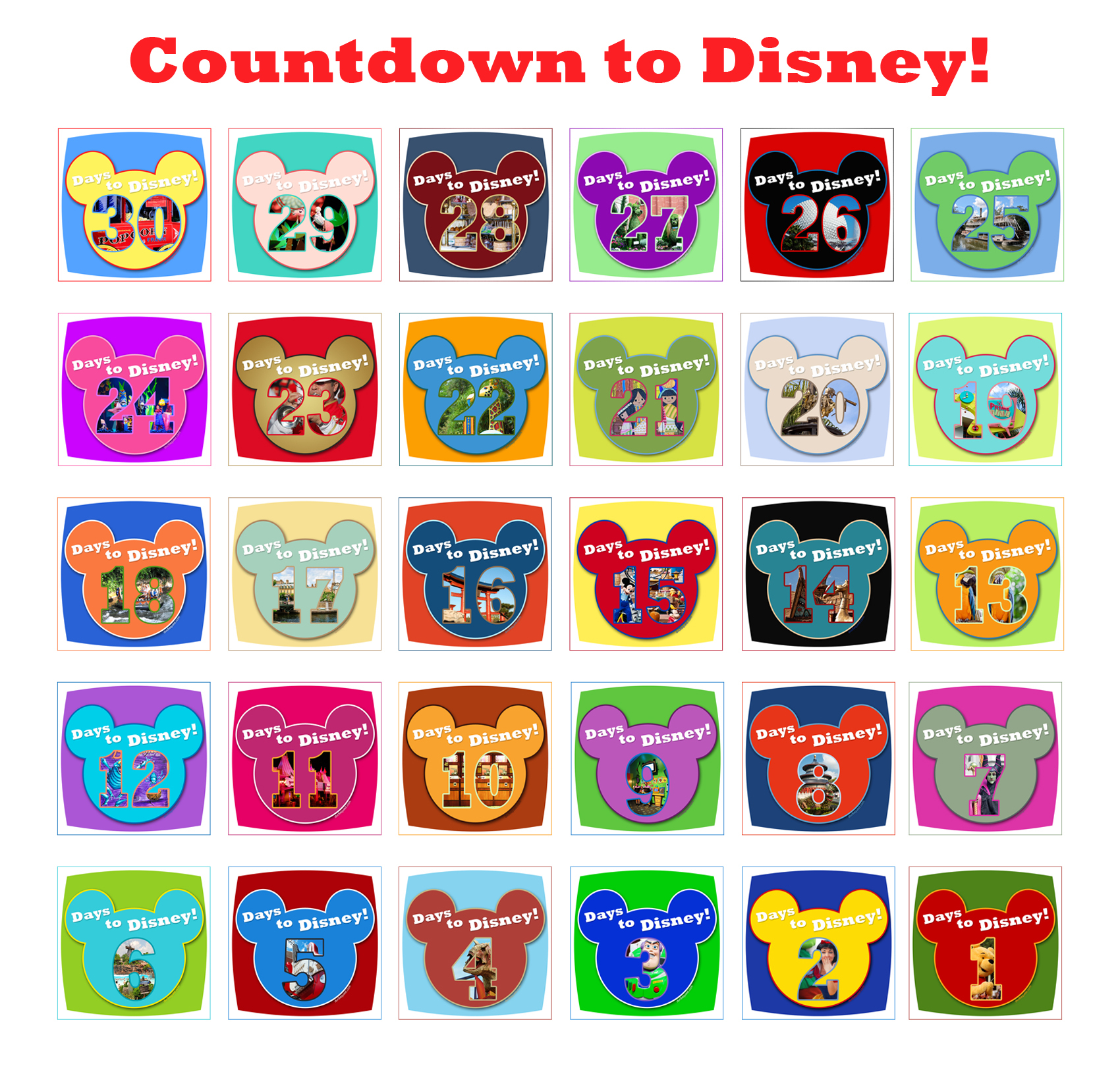 Countdown Calendar Grid  The Official Blog Of David's in Disney Countdown Calendar Printable