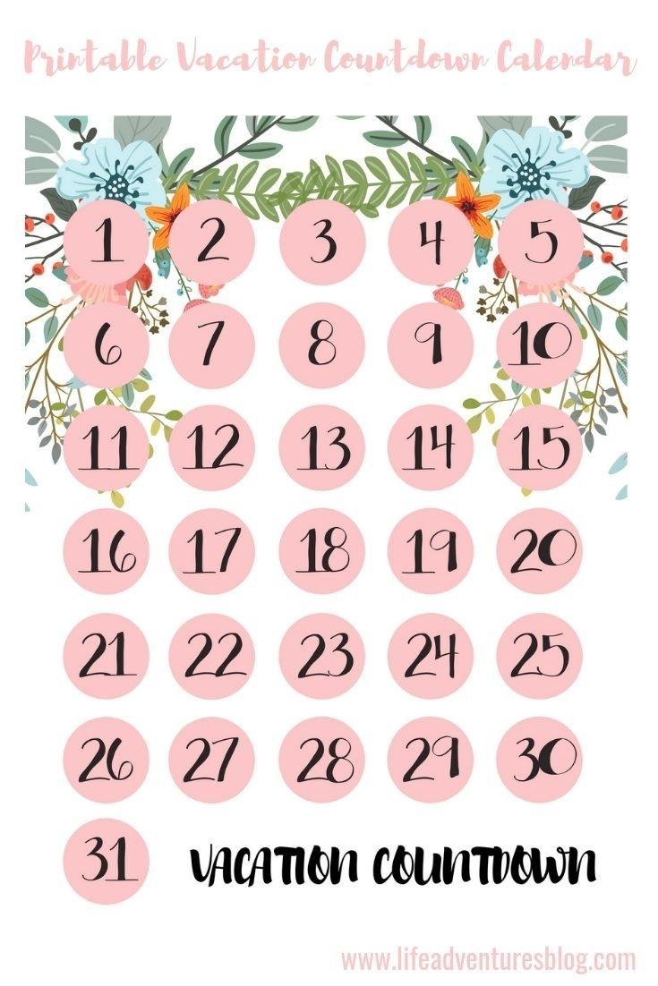 Countdown Calendar Printable Vacation | Free Calendar in Make A Countdown Calendar Printable