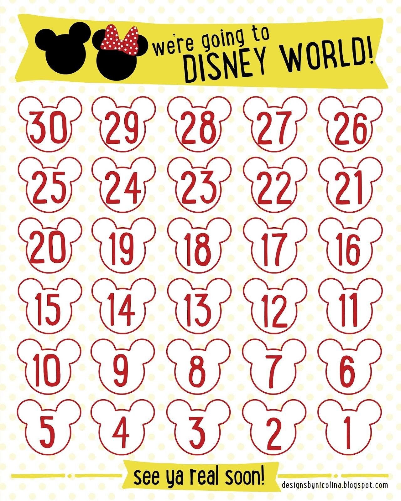 "Countdown Calendars Printable Search Results For ""Disney with Disney World Countdown Calendar Printable"
