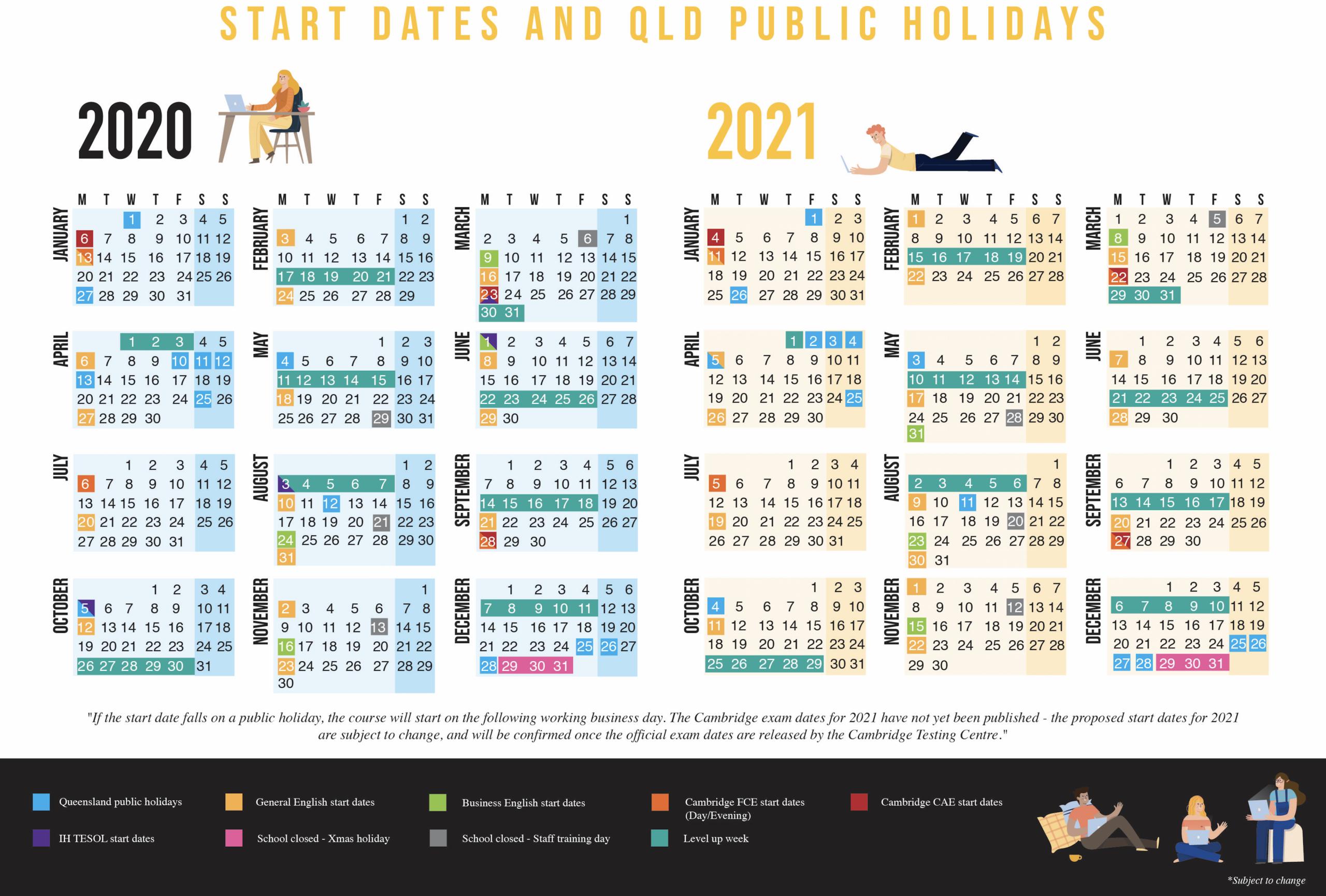 Course Start Dates | International House Brisbane intended for Calendar 2020 Qld