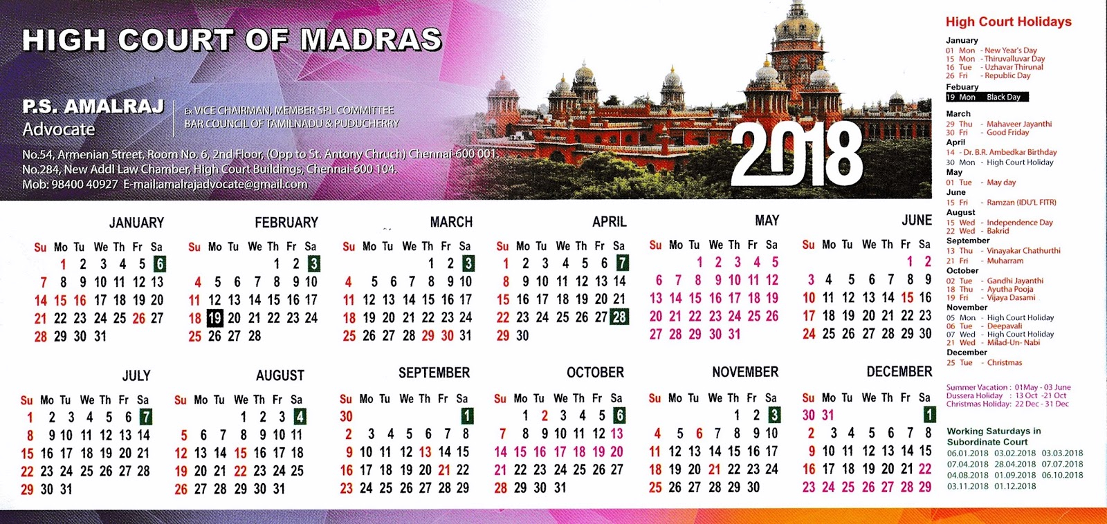 Court Verdict Published In Dailies: Madras High Court in Kerala High Court Calendar