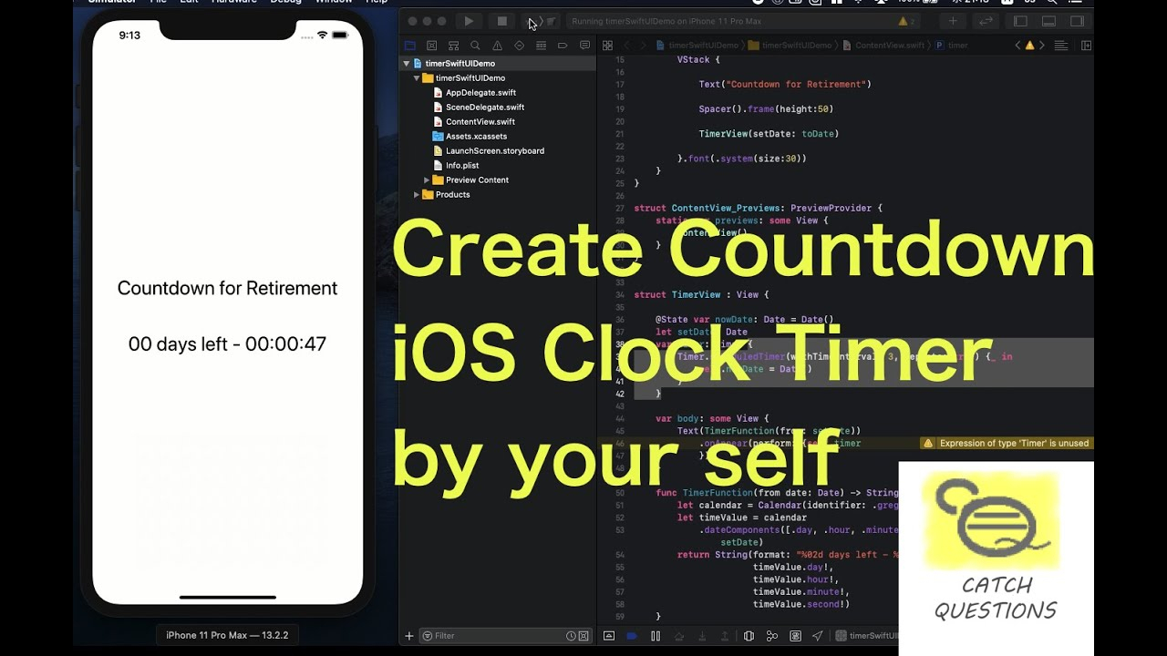 Create Countdown Date Clock Timer With Calendar Library | Swiftui  Catch  Questions Academy with regard to Swiftui Countdown Timer
