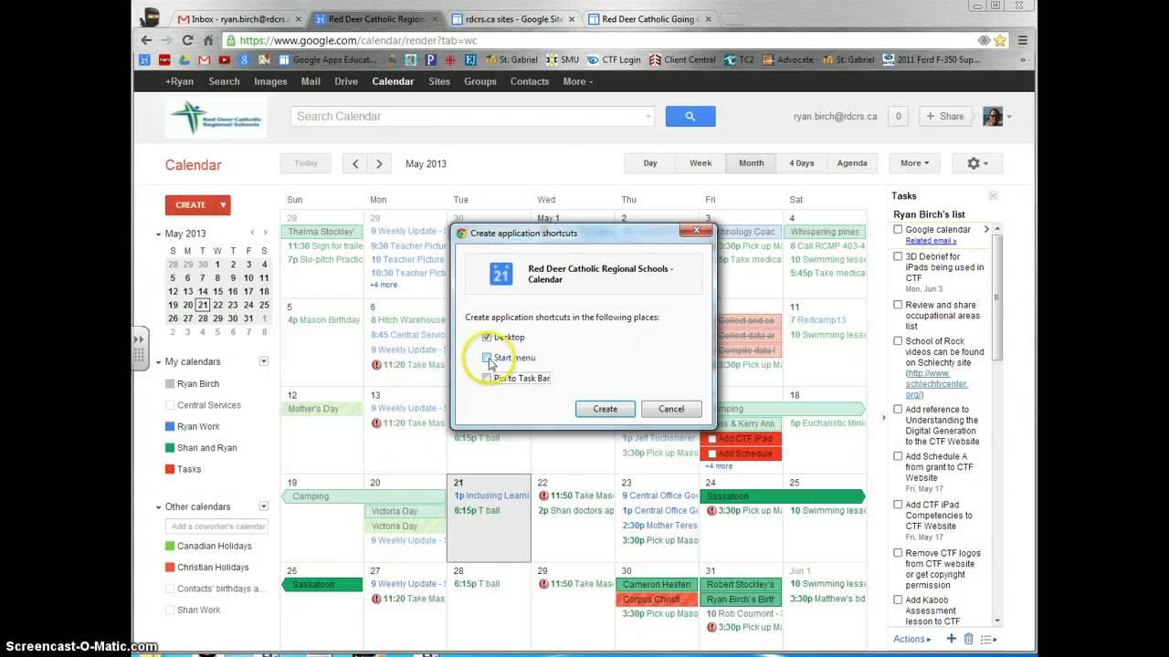 Create Desktop Shortcut For Google Calendar within Add Google Calendar To Taskbar Windows 10