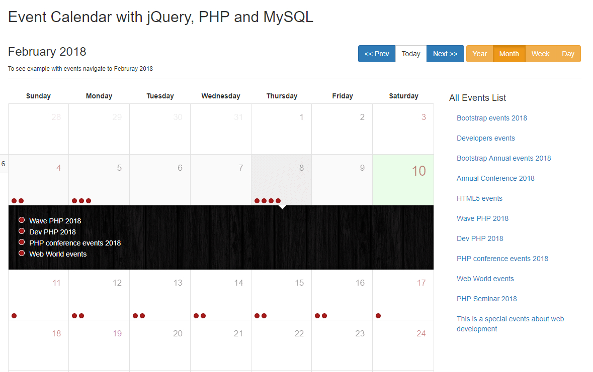 Create Event Calendar With Jquery, Php And Mysql – Phpzag intended for Php Calendar Event Scheduler Code