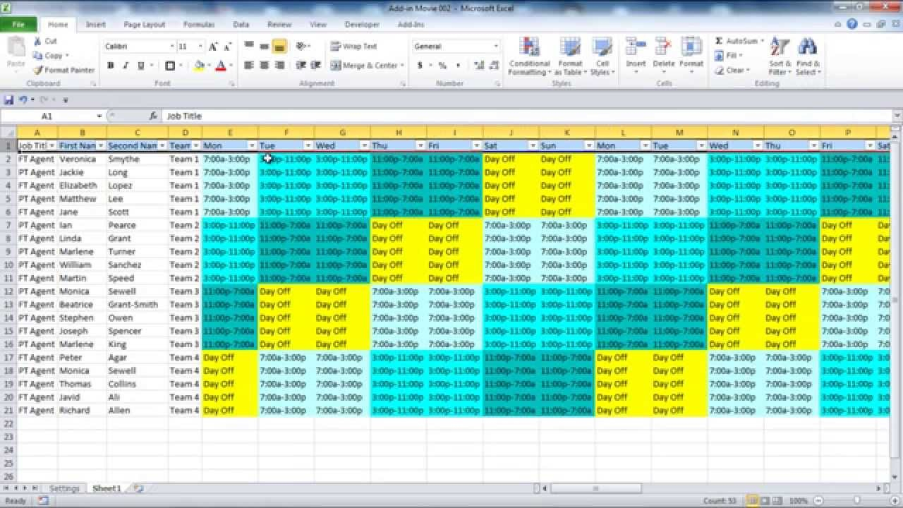 Creating Your Employee Schedule In Excel for 12 Hour Shift Schedule Template Excel