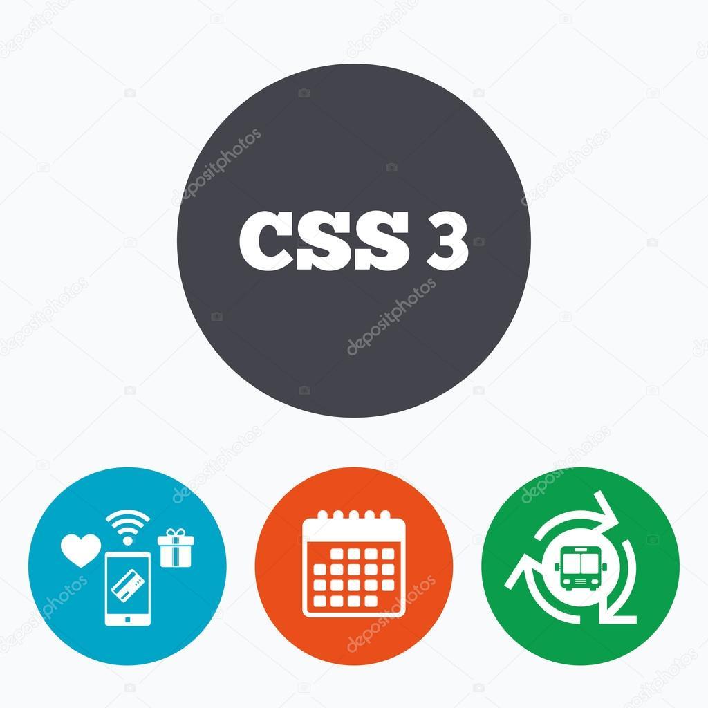Css3 Знак Значок. Каскадные Таблицы Стилей Листы Символ with Css Calendar Icon