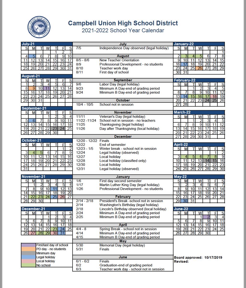 Cuhsd Academic Calendar 202021 & 202122 – Campus Calendars inside Uc Berkeley Academic Calendar 2017