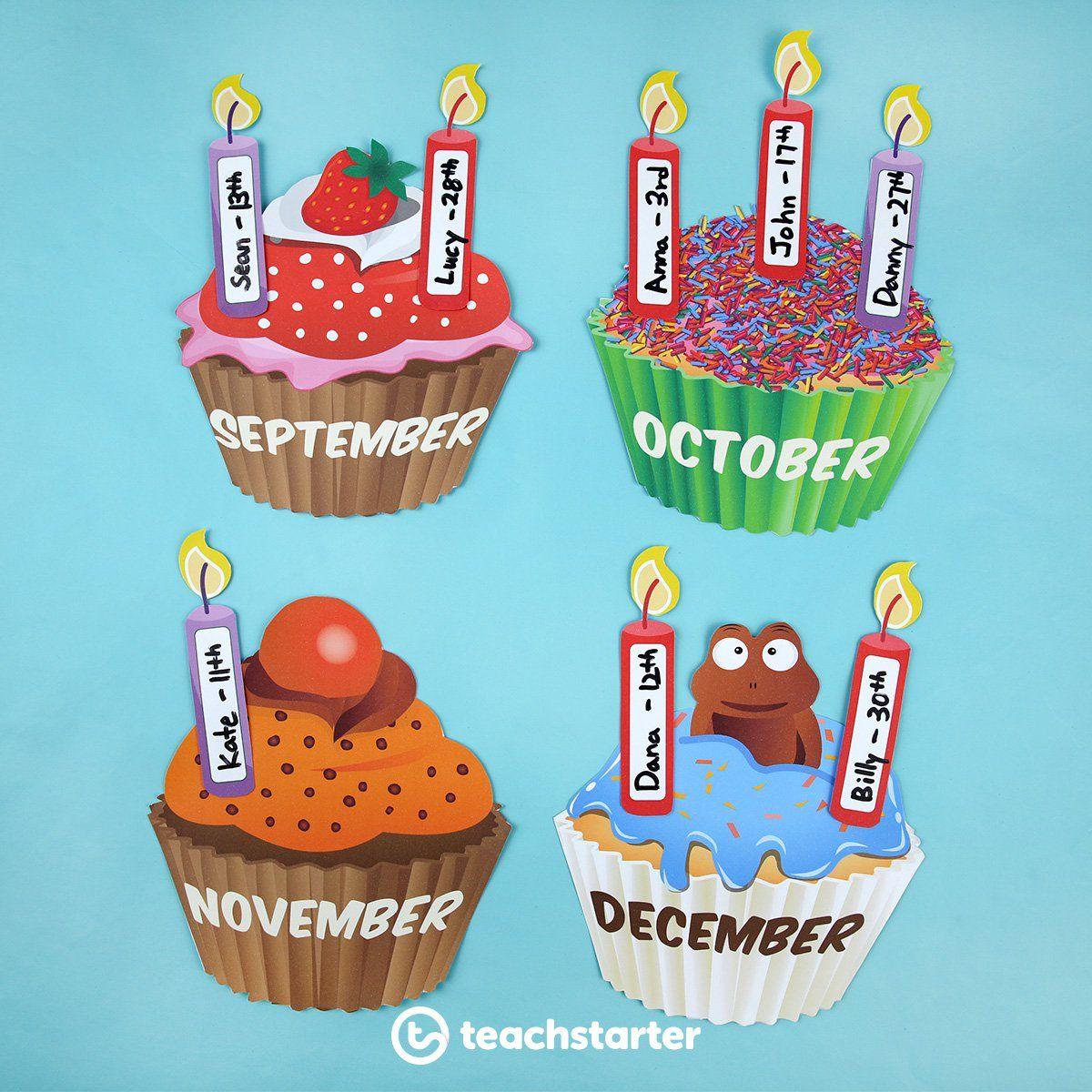 Cupcake Birthday Chart – Version 2 Teaching Resource pertaining to Birthday Display Cupcakes
