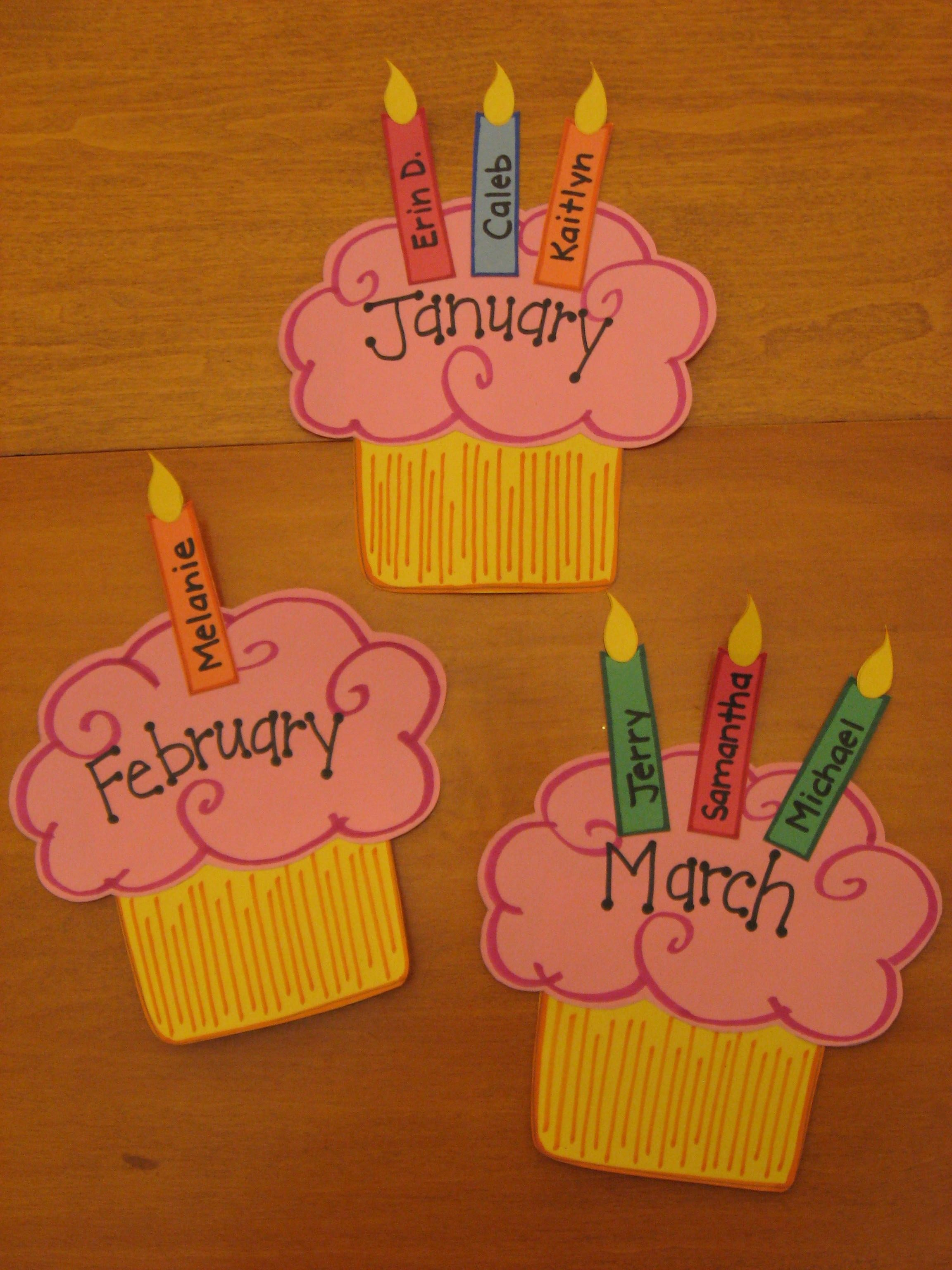 Cupcake Birthday Wall Preschool & Kindergarten Bulletin in Cupcake Birthday Chart