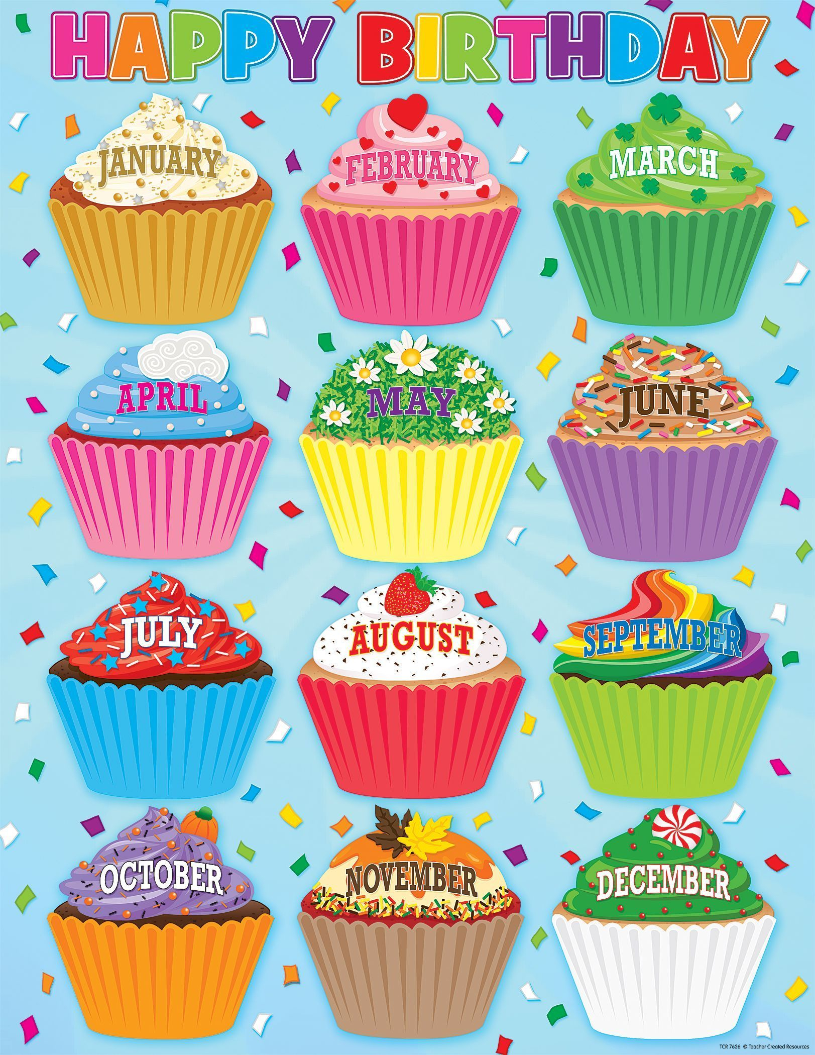 Cupcakes Happy Birthday Chart | Birthday Charts, Classroom for Birthday Display Cupcakes