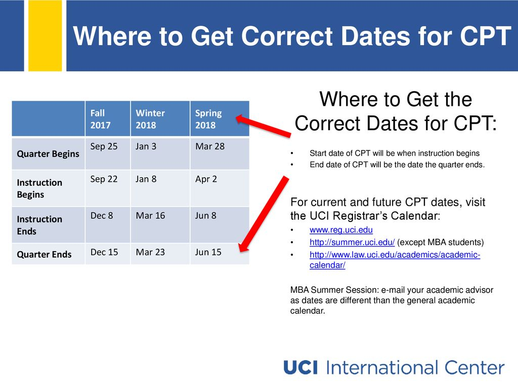 Curricular Practical Training  Ppt Download in Uci Quarterly Calendar