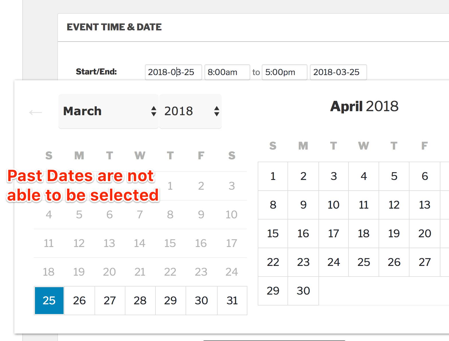 Custom Datepicker Start Date | The Events Calendar for Php Calendar Date Picker