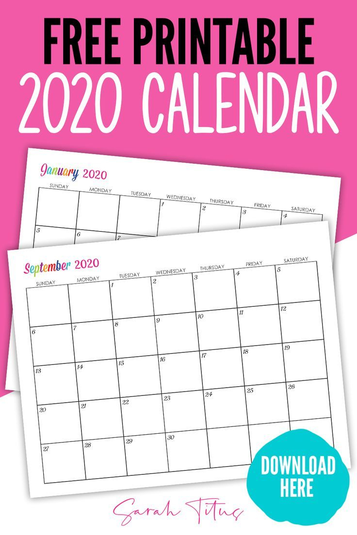 Custom Editable 2020 Free Printable Calendars | I with Sarah Titus Calendar