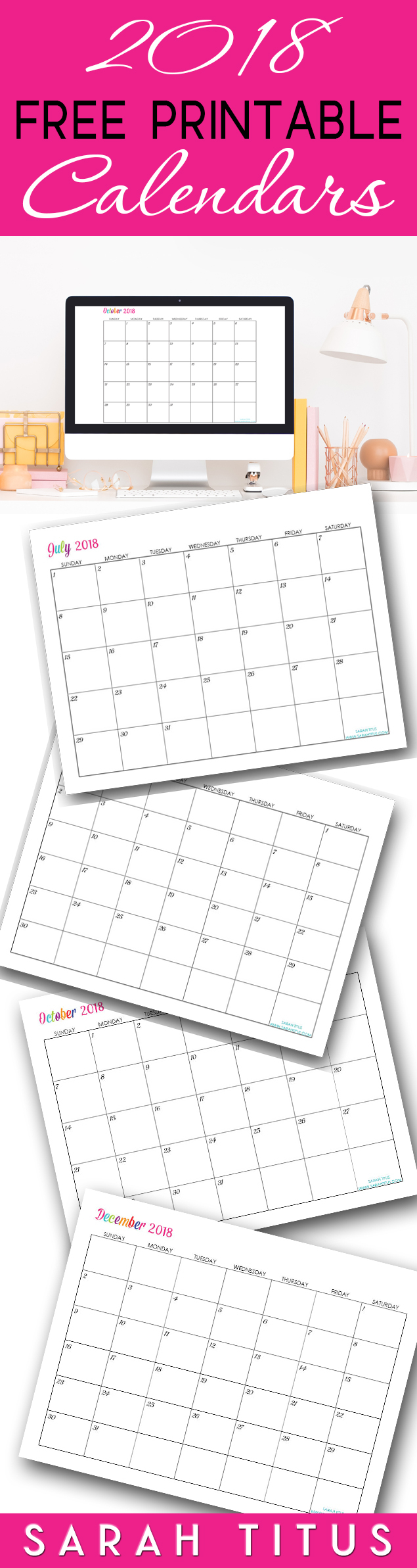 Custom Editable Free Printable 2018 Calendars  Sarah Titus intended for Sarah Titus Calendar