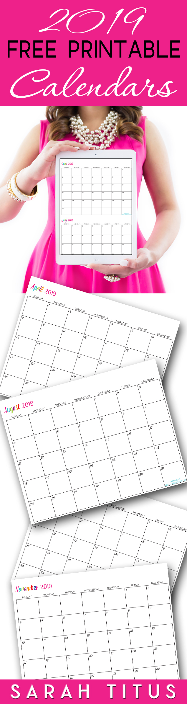 Custom Editable Free Printable 2019 Calendars  Sarah Titus throughout Sarah Titus Calendar