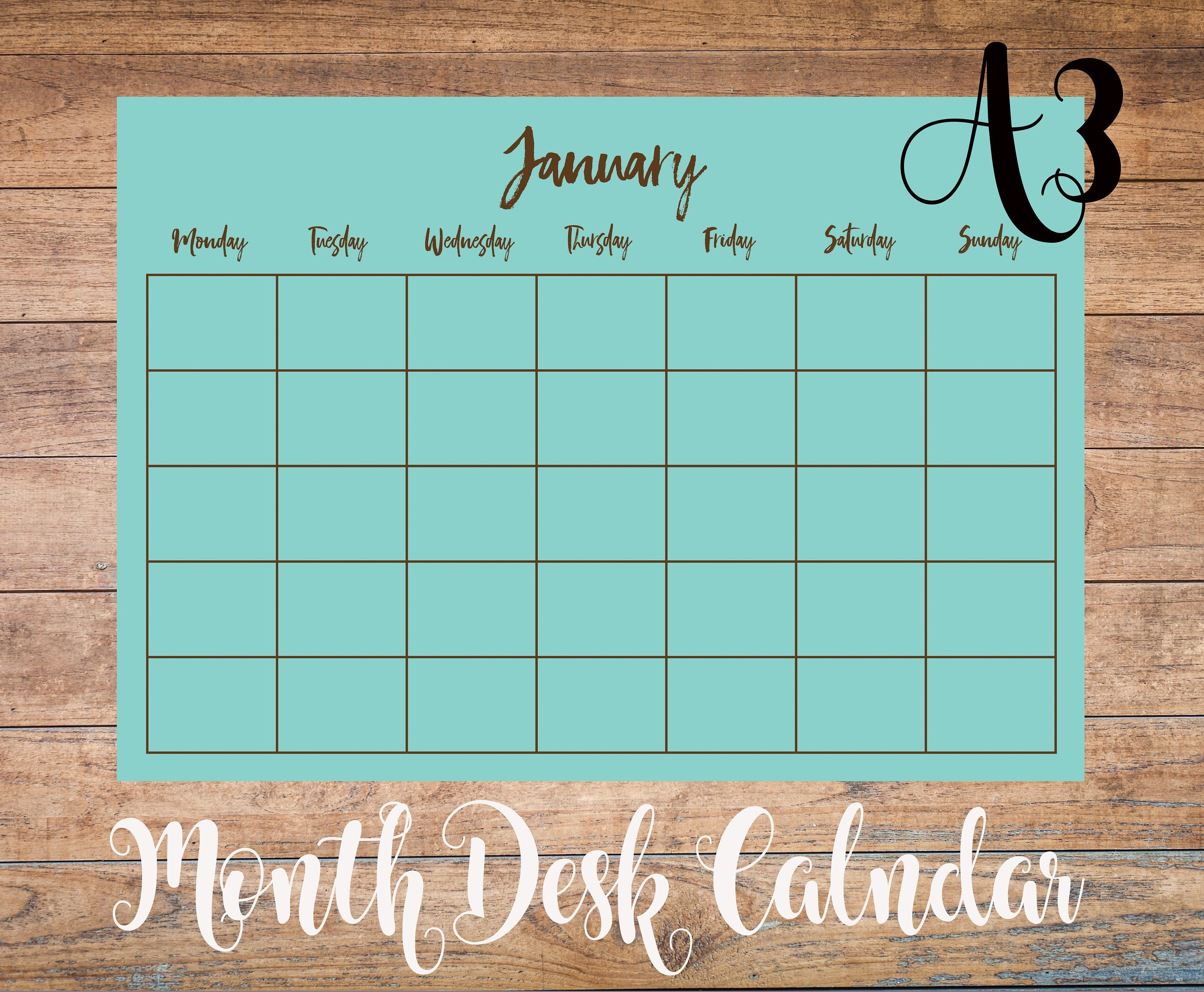 Custom Perpetual A3 Monthly Calendar Printable Undated Desk regarding Printable Perpetual Monthly Calendar