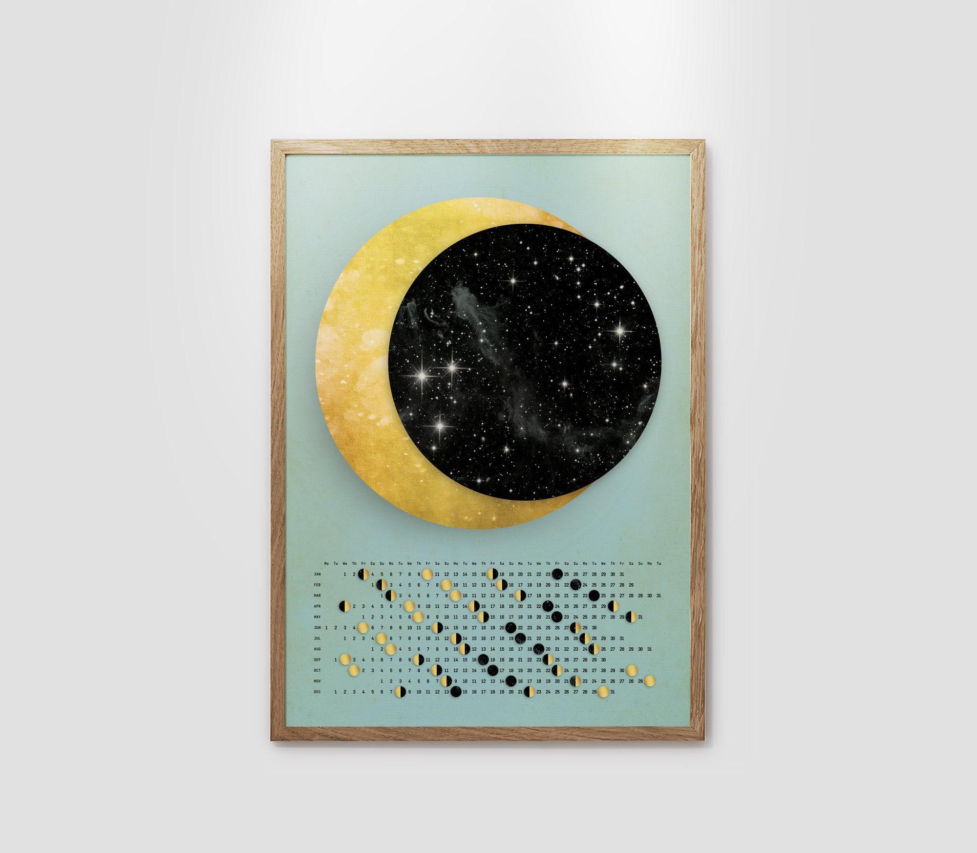 Customized Moon Calendar 2020. Moon Poster Calendar 2020. for Moon Calendar Puerto Rico