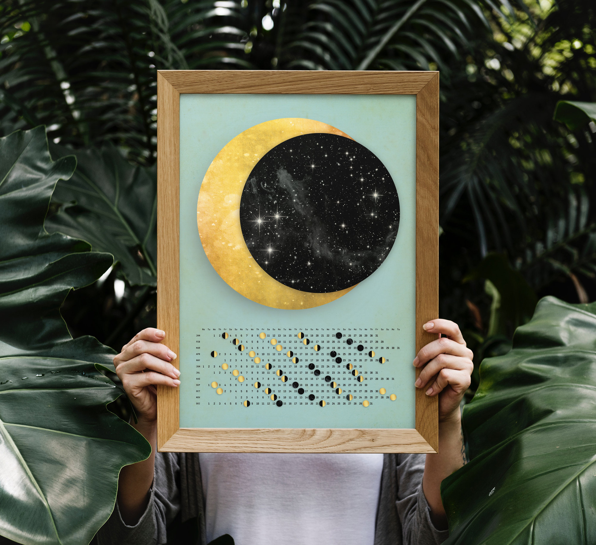 Customized Moon Calendar 2020. Moon Poster Calendar 2020. throughout Moon Calendar Puerto Rico