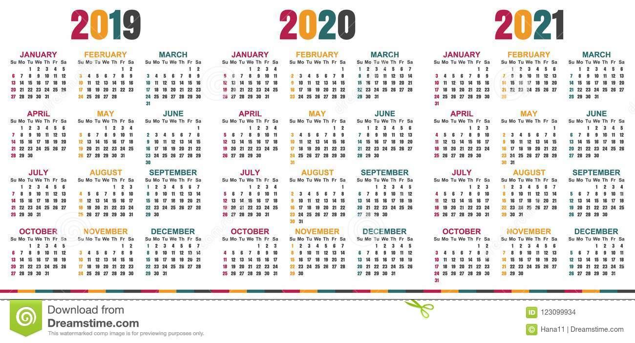 Английский Календарь 20192021 Иллюстрация Вектора in 3 Year Calendar 2020 To 2021 Printable
